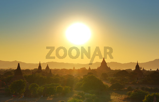 Temples silhouette in Bagan at sunset