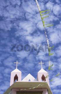 Kapelle mit Glockenturm, Techachalco, Provinz Puebla, Mexiko