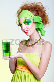 girl with green beer