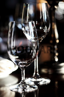 Two empty glasses in restaurant
