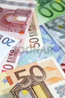Background with different euro banknotes