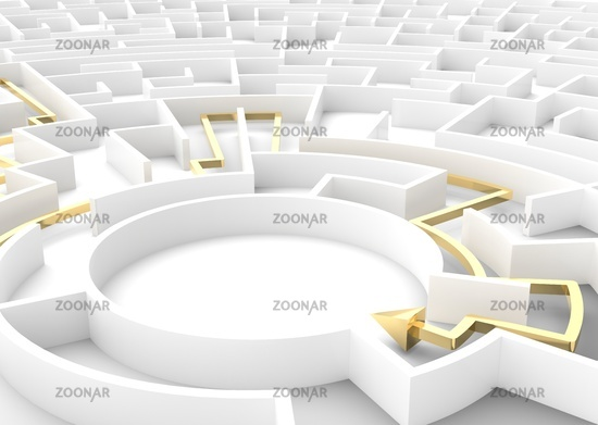 Gold arrow going through maze showing a solution. Business strategy concepts.