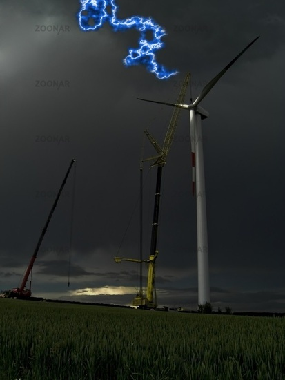 Work on a windmill with thunderstorms and a Flash