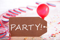 Party Label With Streamer, Balloon, Text Party