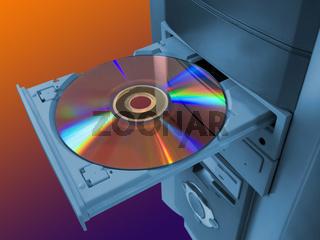 Spectrum (rainbow) on disk in tray