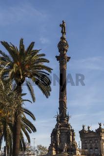 Christoph Columbus Statue zu Ehren des Entdecker von Amerika in Barcelona, Katalonien, Spanien.
