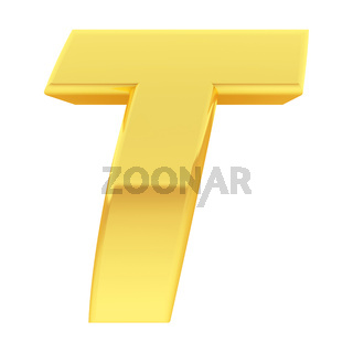 Gold alphabet symbol letter T with gradient reflections isolated on white. High resolution 3D image