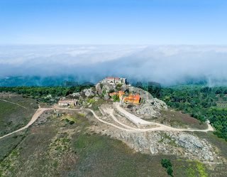 Aerial View High Fog Near Santuario da Peninha
