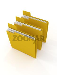 three yellow folder on white
