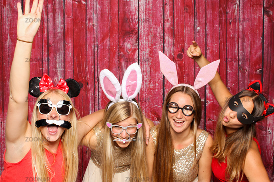 funny girl with hare ears - photobooth party
