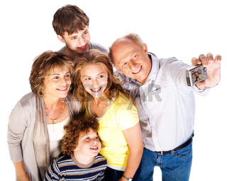 Family together taking self-portrait