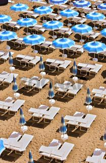 Mediterranean beach during hot summer day.