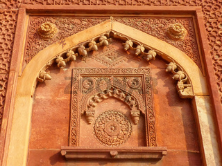 Detail of a wall in Jahangiri Mahal, Agra Fort, Uttar Pradesh, India