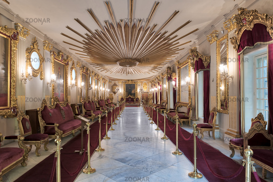 Throne Hall at Manial Palace of Prince Mohammed Ali Tewfik with ornate ceiling inspired by the old flag of the ottoman empire and gold plated armchairs, Cairo, Egypt