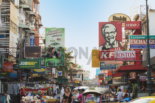 Billboards Khao San road in Bangkok, Thailand.