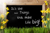 Sunny Spring Narcissus, Chalkboard, Quote Little Things Make Life Big