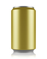yellow beer can isolated on white background