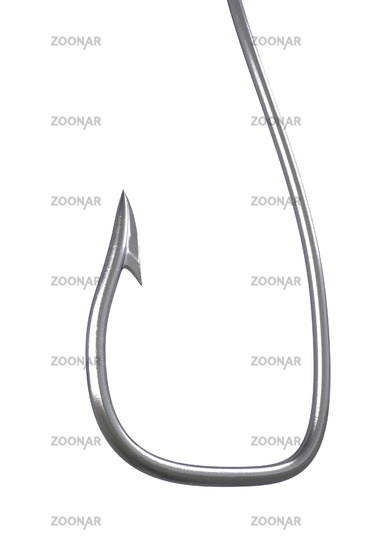 Barbed fish hook 3d illustration on white