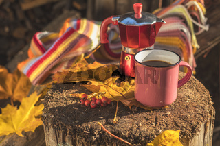 Multicolored scarf, cup of coffee, red coffee maker, yellow maple and oak leaves on the wooden board. Bright autumn background. Sunlight, copy space.