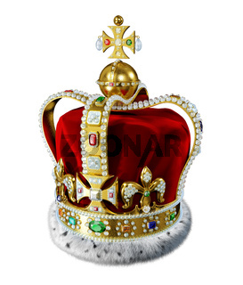 Royal gold crown, with many jewels and decorations, isolated on white background.