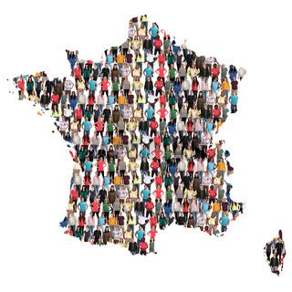 Frankreich Karte Leute Menschen People Gruppe Menschengruppe multikulturell