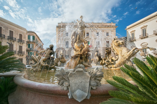 Diana fountain in the center of Siracusa - piazza Archimede Syracusy