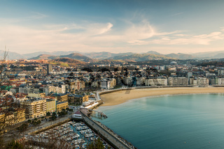 San Sebastian cityscape at winter sunset