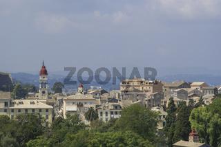 Blick auf die Spyridon Kirche auf Korfu, Griechenland