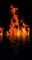 Burning flames form a  log campfire