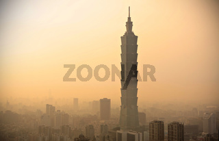Taipei with heavy smog at sunset