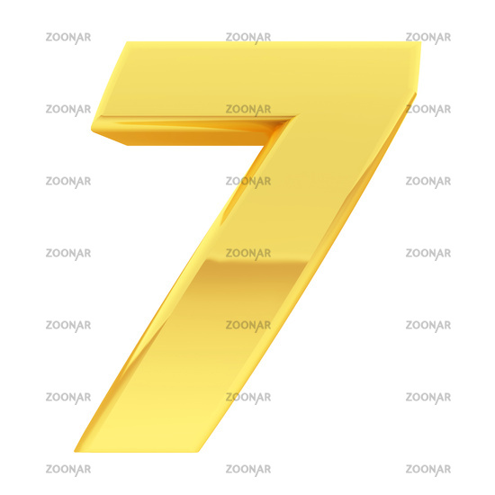 Gold number 7 with gradient reflections isolated on white. High resolution 3D image
