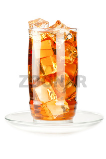 Glass of iced tea with ice cubes