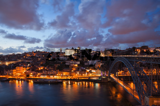 City of Porto at Dusk in Portugal