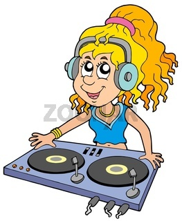 Cartoon DJ girl on white background - isolated illustration.