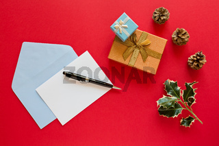 Christmas letter over a red background
