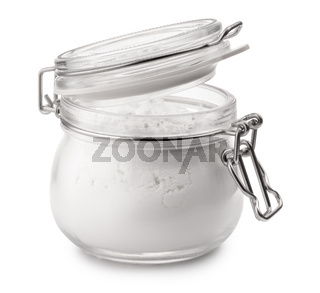 Glass jar of corn starch