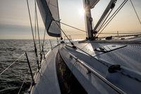sunset on a sailing yacht