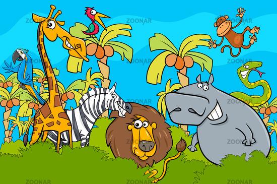 cartoon safari wild animal characters group