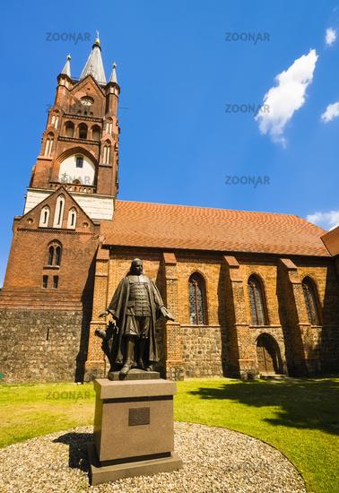 Monument of Paul Gerhardt  in front of St. Moritz Church, Mittenwalde, Brandenburg, Germany