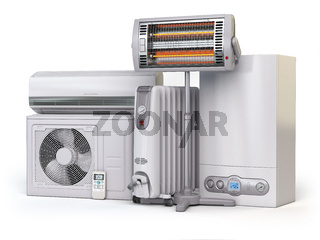 Heating devices and climate equipment.  Heating household appliances. Gas boiler, air conditioner, oil and radiant electric heaters isolated on white background.