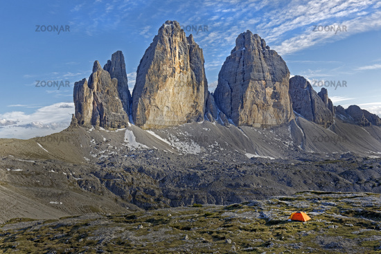 North face of the Three Peaks, Sextner Dolomiten, South Tyrol province, Trentino-Alto Adige, Italy,