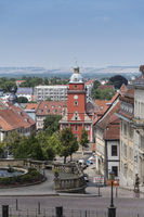 View from Castle Friedenstein on water games, Hauptmarkt and town hall