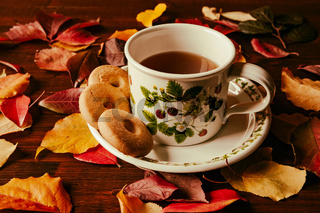 Cup of tea with biscuits and autumnal foliage