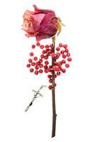 Catholic rosary and dry rose on white