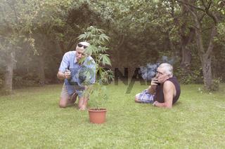 Seniors smoking marijuana and relaxing in the garden