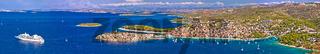 Adriatic tourist destination of Primosten aerial panoramic archipelago view