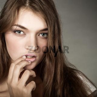 portrait of attractive girl. Studio shot