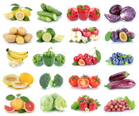 Obst und Gemüse Früchte Apfel Erdbeeren Zitrone Tomaten Farben Collage Freisteller freigestellt isoliert