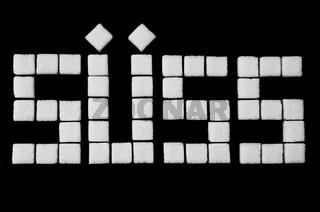 das Wort 'suess' aus Wuerfelzucker zusammengestzt