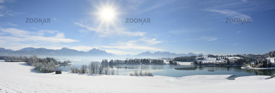 panorama landscape in Bavaria with alps mountains mirroring in lake